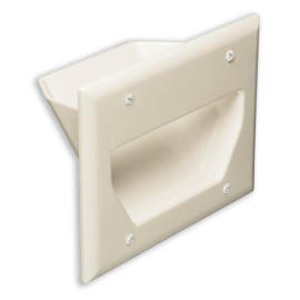 DataComm Recessed Low Voltage Cable Plate, 3-Gang, Light Almond