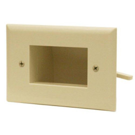 DataComm Slim Fit Easy Mount Recessed Low Voltage Cable Plate, Light Almond