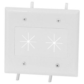 DataComm Cable Plate with Flexible Opening, 2-Gang, Ivory