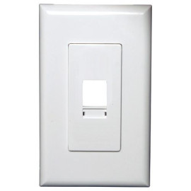 Channel Vision Screwless Wallplate with Labels, 1-Port, White