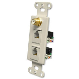 OEM Systems Pro-Wire Combo Jack Plate (1 Coax, 2 RJ11), Ivory
