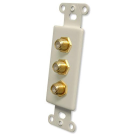 OEM Systems Pro-Wire Jack Plate (3 Coax), Almond