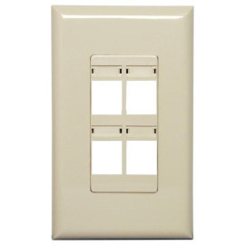 Channel Vision Screwless Wallplate with Labels, 4-Port, Ivory