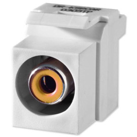 On-Q/Legrand Yellow RCA To RCA Keystone Connector, White