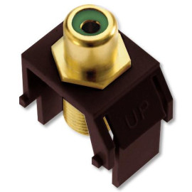 On-Q/Legrand Green RCA to F-Type Coax Keystone Connector, Brown