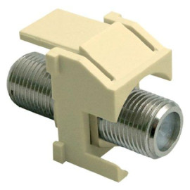 On-Q/Legrand Recessed F-Type Coax Keystone Connector (Nickle), Light Almond
