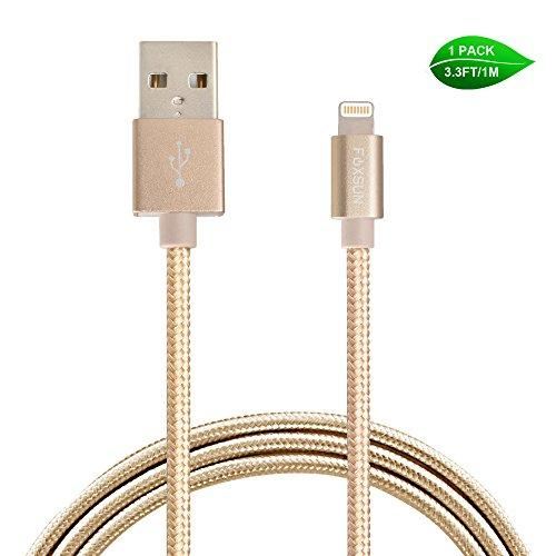 Foxsun Lightning Cable 3.3ft/1m iPhone Cable Nylon Braided 8Pin Lightning to USB Cable [Apple MFi Certified] for iPhone 7 7 Plus 6 6s 6 Plus 6s Plus, iPhone 5 5s 5c,iPad, iPod and More-Gold