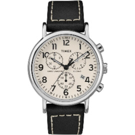 Timex Men And #39;S Weekender Chronograph 40Mm Watch - White Dial/Black Leather Strap