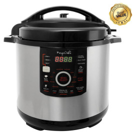 Megachef 12 Quart Steel Digital Pressure Cooker With 15 Presets And Glass Lid