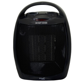 Vie Air 1500W Portable 2 Settings Black Ceramic Heater With Adjustable Thermostat