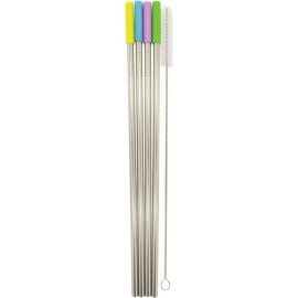 Starfrit 092848-006-0000 Stainless Steel Reusable Straws With Silicone Tips, 4-Pack (Straight)