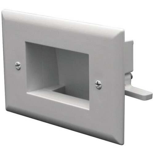 Easy-Mount Recessed Low-Voltage Cable Plate (White)