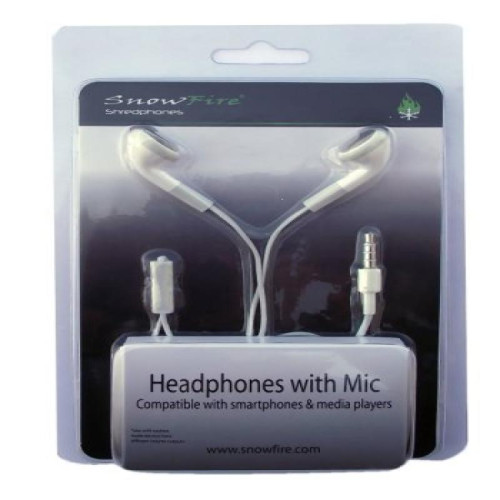 Replacement stereo headset with Mic - White - earbuds style
