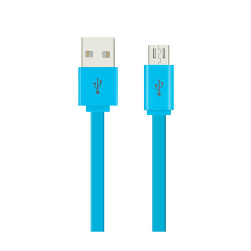 1METER FLAT DATA CABLE FOR MICRO-USB DEVICES BLUE