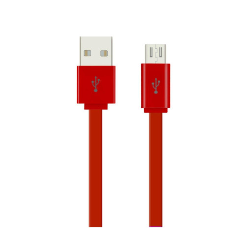 1METER FLAT DATA CABLE FOR MICRO-USB DEVICES RED
