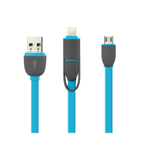 REIKO IPHONE 6 AND MICRO USB FLAT CABLE 3.2FT 2-IN-1 USB DATA IN BLUE