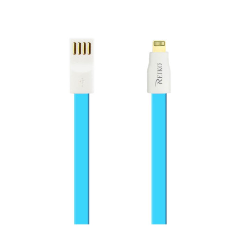 REIKO IPHONE 6 FLAT MAGNETIC GOLD PLATED USB DATA CABLE 0.7 FOOT IN BLUE