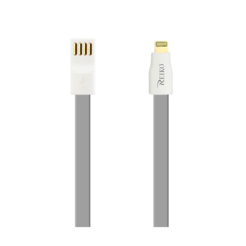 REIKO IPHONE 6 FLAT MAGNETIC GOLD PLATED USB DATA CABLE 0.7 FOOT IN GRAY