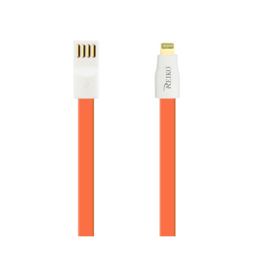 REIKO IPHONE 6 FLAT MAGNETIC GOLD PLATED USB DATA CABLE 0.7 FOOT IN ORANGE