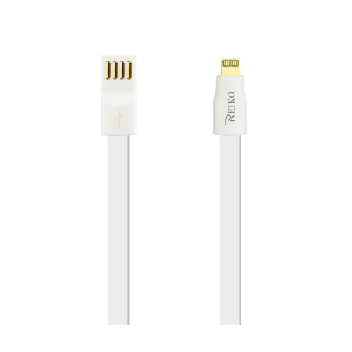 REIKO IPHONE 6 FLAT MAGNETIC GOLD PLATED USB DATA CABLE 0.7 FOOT IN WHITE
