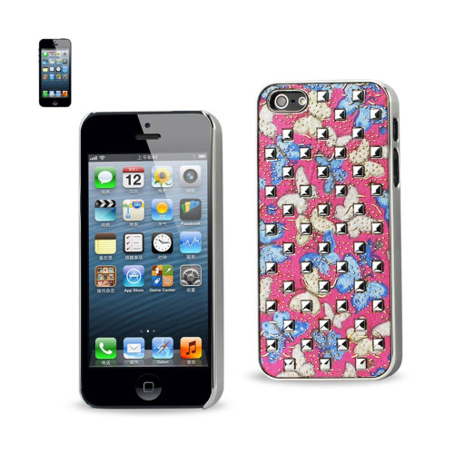 Plating rivets cover with BUTTERFLIES PATTERN IPHONE5S BLUE