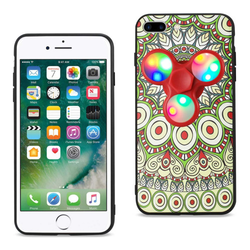 REIKO DESIGN THE INSPIRATION OF PEACOCK IPHONE 7 PLUS/ 6 PLUS/ 6S PLUS CASE WITH LED FIDGET SPINNER CLIP ON IN BEIGE
