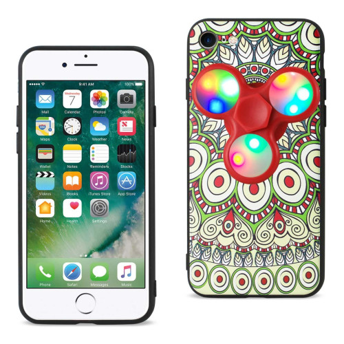 REIKO DESIGN THE INSPIRATION OF PEACOCK IPHONE 7/ 6/ 6S CASE WITH LED FIDGET SPINNER CLIP ON IN BEIGE
