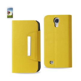 MAGNET FLIP SMOOTH LEATHER CASE SAMSUNG GALAXY S4 YELLOW