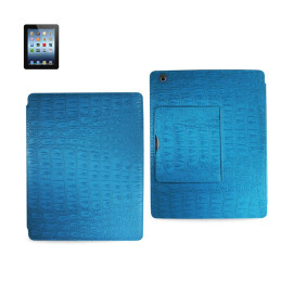 FITTING CASE WITH SMALL POCKET IPAD3 CROCODILE BLUE