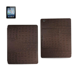 FITTING CASE WITH SMALL POCKET IPAD3 CROCODILE BROWN