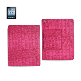 FITTING CASE WITH SMALL POCKET IPAD3 CROCODILE HOT PINK
