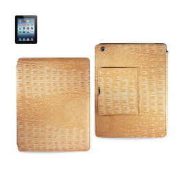 FITTING CASE WITH SMALL POCKET IPAD3 CROCODILE YELLOW