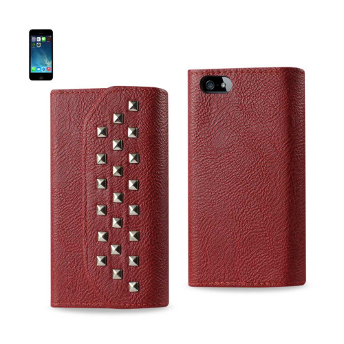 Studded Flip Case FOR iphone5s DARK RED