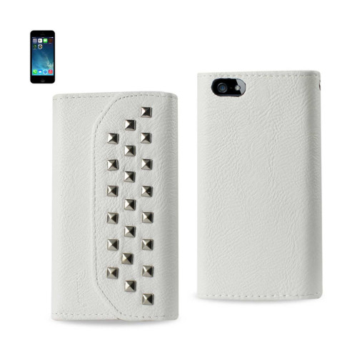 Studded Flip Case FOR iphone5s WHITE