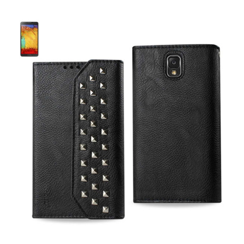 Studded Flip Case FOR SAMSUNG GALAXY NOTE3 BLACK