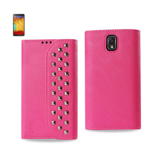 Studded Flip Case FOR SAMSUNG GALAXY NOTE3 HOT PINK