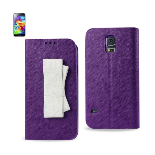 WALLET CASE FOR SAMSUNG GALAXY S5 PURPLE WITH WHITE BOW