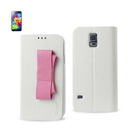 WALLET CASE FOR SAMSUNG GALAXY S5 WHITE WITH PINK BOW
