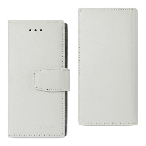 REIKO IPHONE 7 GENUINE LEATHER WALLET CASE WITH RFID CARD PROTECTION IN IVORY
