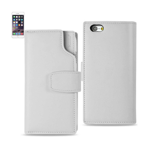 REIKO IPHONE 6 PLUS GENUINE LEATHER WALLET CASE WITH OPEN THUMB CUT IN IVORY