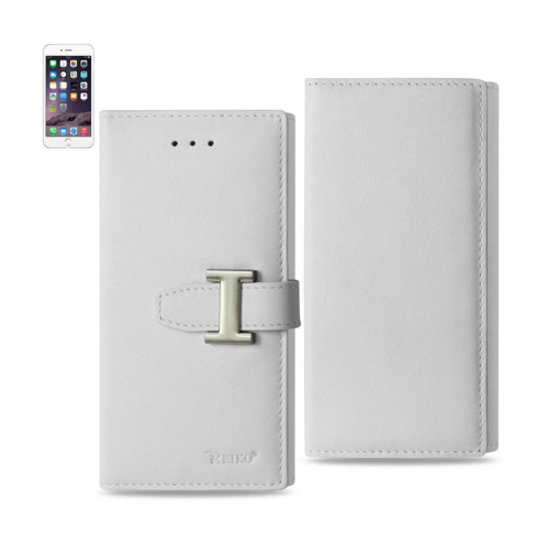 REIKO IPHONE 6 PLUS GENUINE LEATHER RFID WALLET CASE IN IVORY
