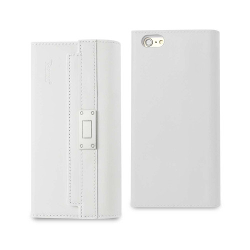 REIKO IPHONE 6S PLUS GENUINE LEATHER RFID WALLET CASE AND METAL BUCKLE BELT IN IVORY