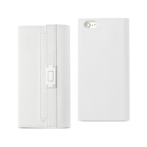 REIKO IPHONE 6S GENUINE LEATHER RFID WALLET CASE AND METAL BUCKLE BELT IN IVORY