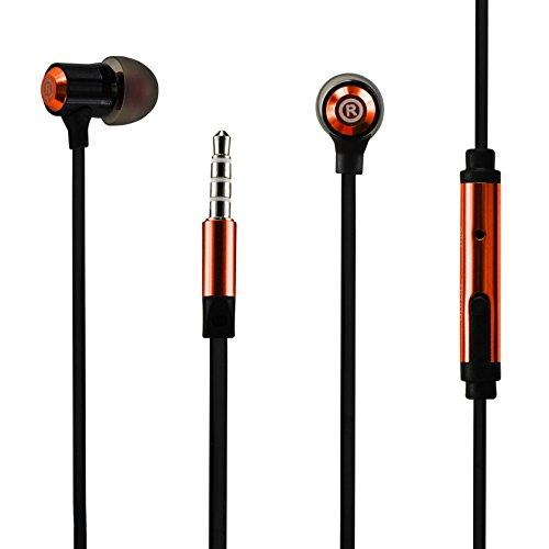 3.5MM EARPHONE WITH MIC & DOUBLE COLOR EARBUD TIPS ORANGE