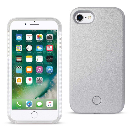 REIKO IPHONE 7 LED SELFIE LIGHT UP ILLUMINATED CASE IN SILVER