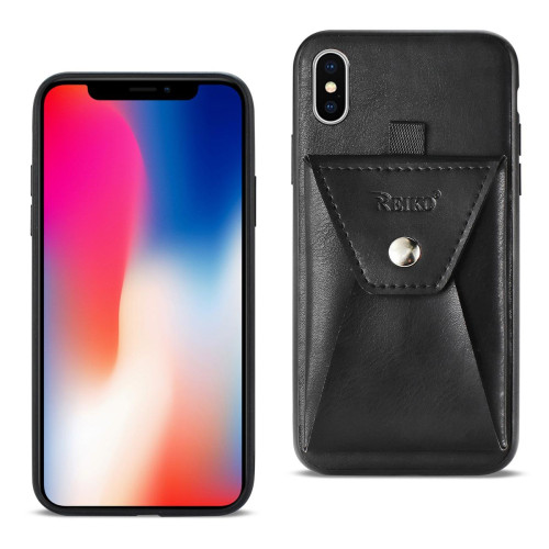 Reiko iPhone X Durable Leather Protective Case With Back Pocket In Black