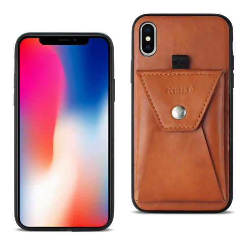 Reiko iPhone X Durable Leather Protective Case With Back Pocket In Brown
