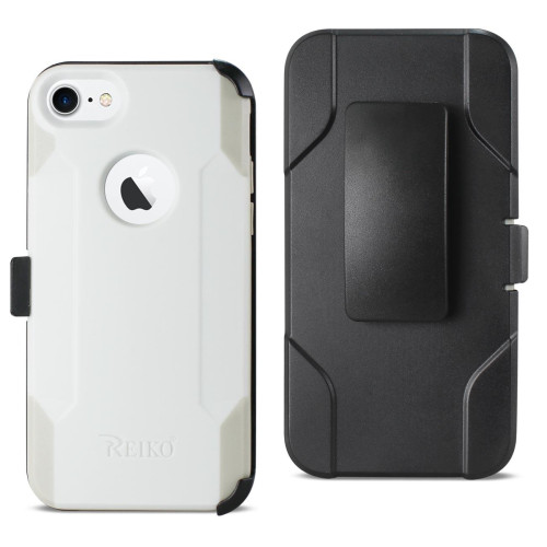REIKO IPHONE 8 3-IN-1 HYBRID HEAVY DUTY HOLSTER COMBO CASE IN IVORY