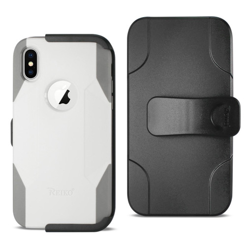 REIKO IPHONE X 3-IN-1 HYBRID HEAVY DUTY HOLSTER COMBO CASE IN IVORY