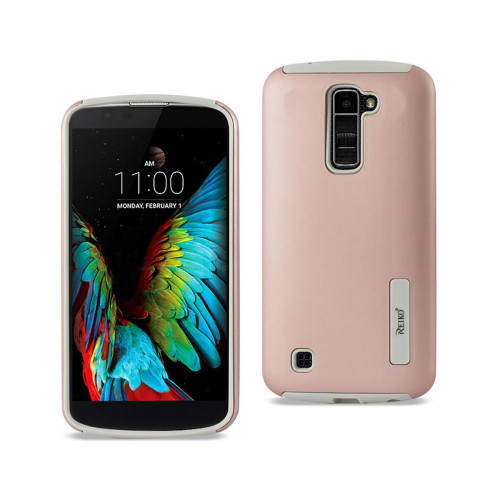 REIKO LG K10 SOLID ARMOR DUAL LAYER PROTECTIVE CASE IN ROSE GOLD